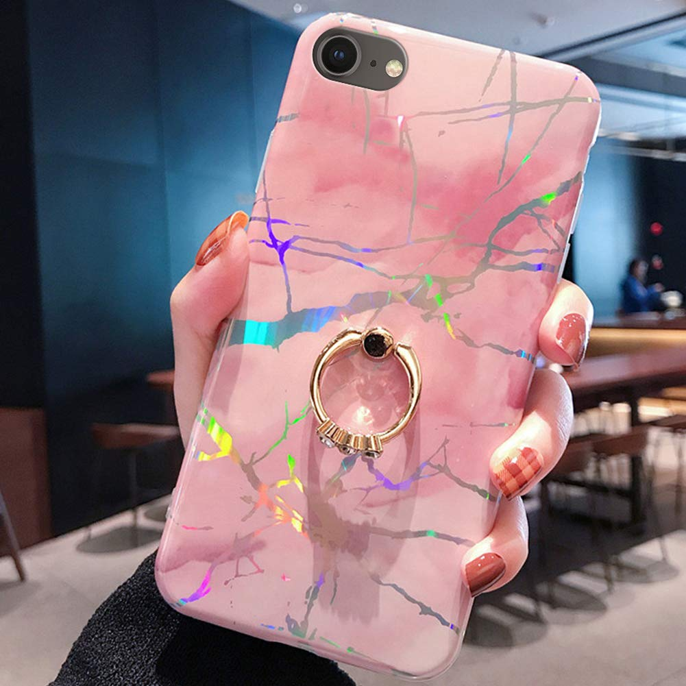 Marble Case for iPhone 8/7 Cover,Girls and Women Diamond Ring Stand Bling Sparkle Laser Aurora Color Marble Design Flexible Soft Rubber Gel TPU Case Cover for iPhone 8/7 Silicone Case,Pink