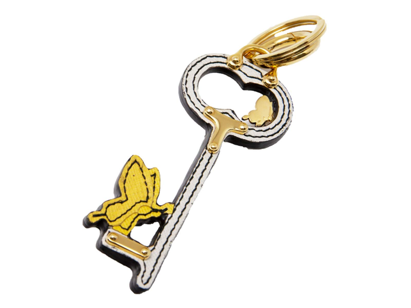 Prada Leather Key Chain Rick in Pelle Tu Saffinano Key White Black And Gold 1TL069