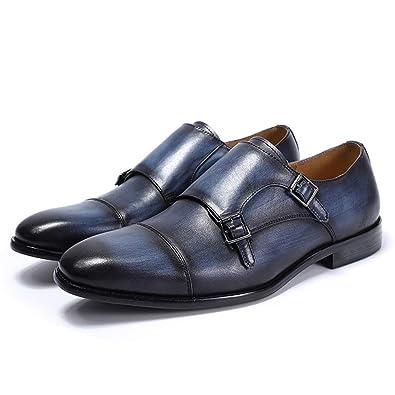 384c32ce0af0 FELIX CHU Mens Double Monk Strap Dress Shoes Full Grain Leather Oxford  Formal Party Shoes Blue