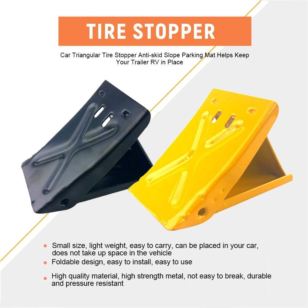 popchilli Pair Foldable Steel Wheel Wedges Non Slip Car Slope Mat Tire Bumper Non Slip Slip Resistant Mat Anti-Slip Non-Slip Parking Mat Triangle Car Triangle