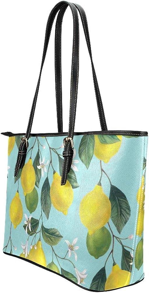 Work Handbag Retro Beautiful Lemon Tree Flower Leather Hand Totes Bag Causal Handbags Zipped Shoulder Organizer For Lady Girls Womens Large Tote Organizer