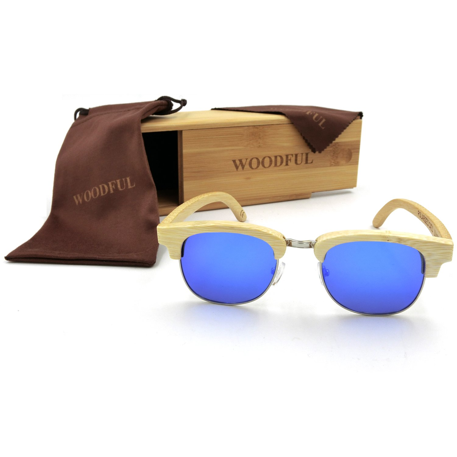Bamboo Sunglasses Men Women Polarized Wooden Glasses with Case