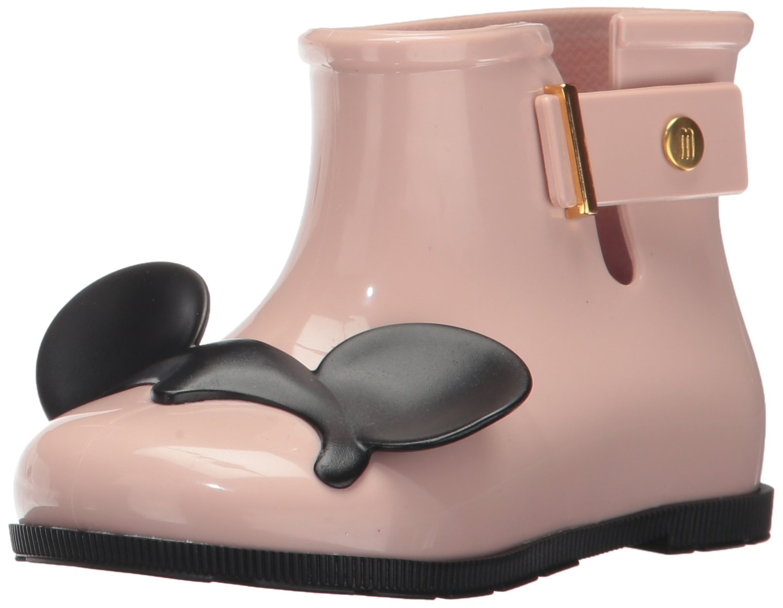 Mini Melissa Girls' Mini Sugar Disney Twins Rain Boot, Pink/Black, 10 Regular US Toddler