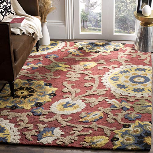 (Safavieh Blossom Collection BLM401C Handmade Floral Vines Red and Multi Premium Wool Area Rug (4' x 6'))