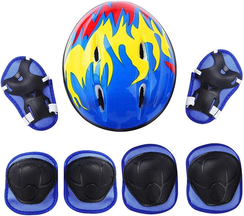 Childrens Knee Pads Set Protector Set Childrens Protectors with Helmet 7 Childrens Knee Pads Protector Set inliner Adjustable Boys Girls Knee Pads for Skateboard Bike Skate Roller Skate
