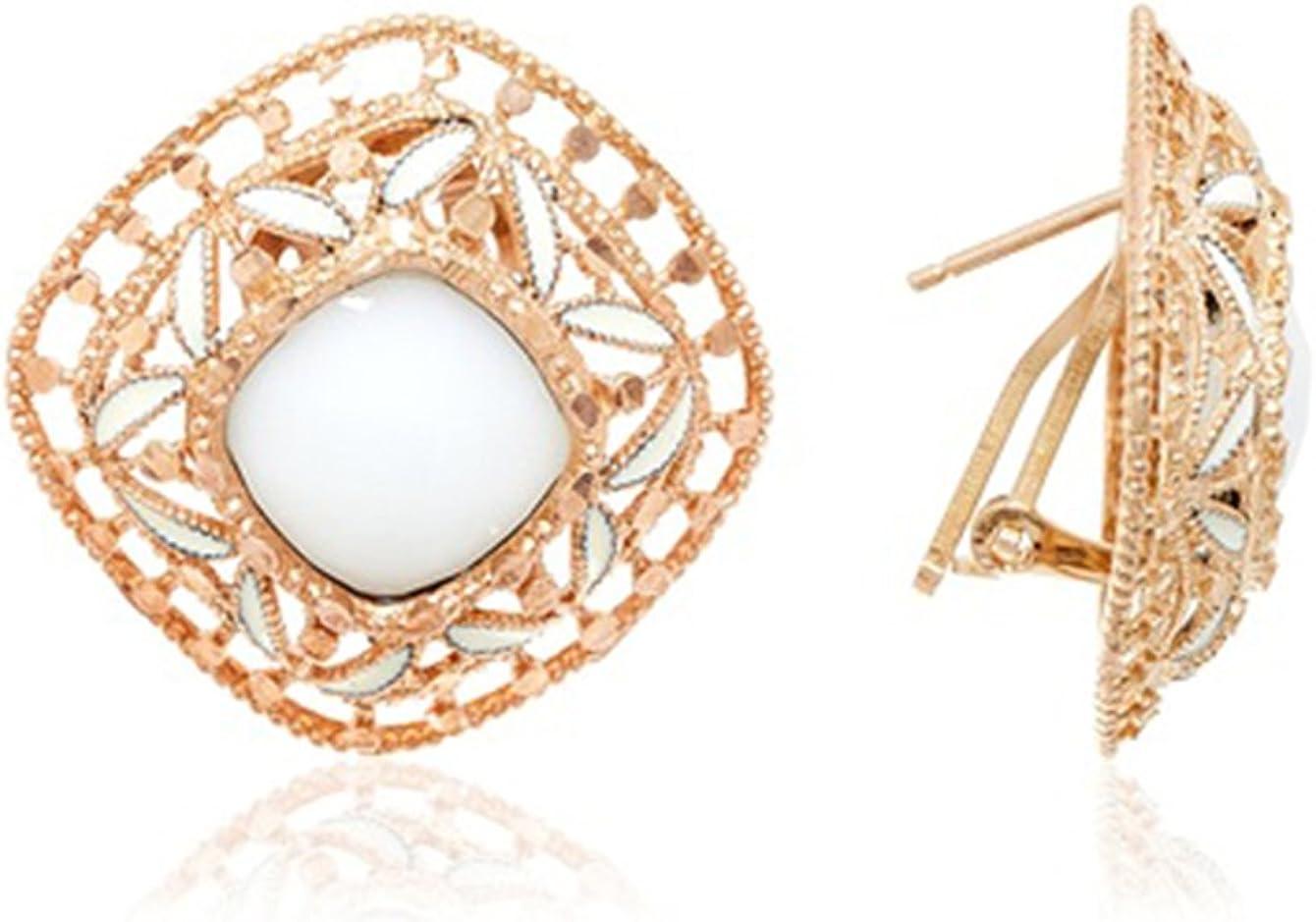 Córdoba Jewels | Pendientes en plata de ley bañada en oro rosa con diseño Square nacar