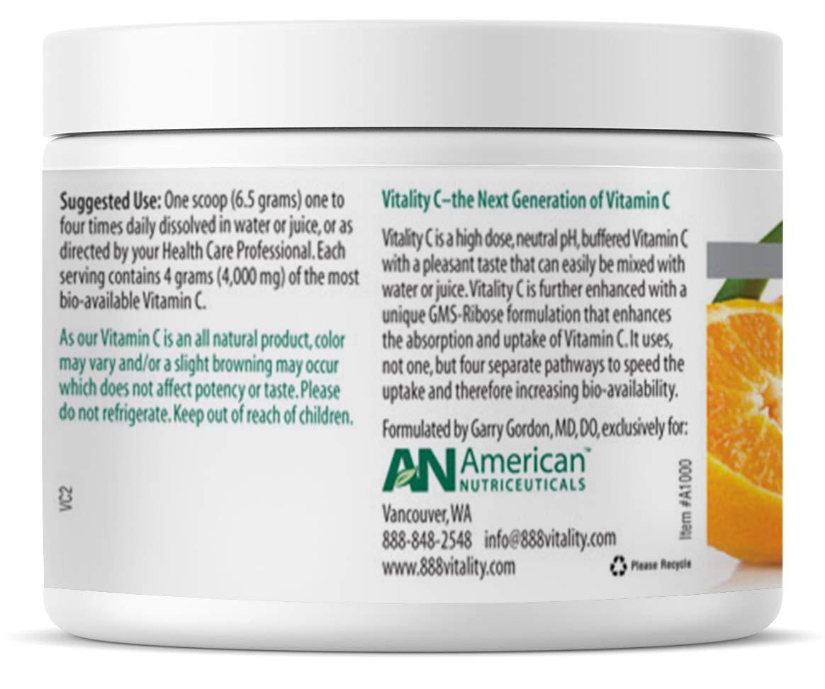 American Nutriceuticals Vitality C - 200 Gram (Pack of 2) | Ultra High-Potency Vitamin C Powder Without Gastric Distress | Enhanced Absorption, Neutral pH with GMS-Ribose Complex by Vitality C (Image #3)