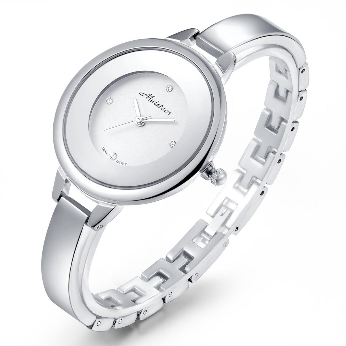 Stainless Steel Wrist Watch for Women Luxury Silver-Tone Watch Analog Quartz Ladies Watches, Silver, One Size