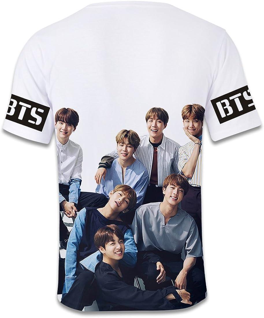 EMILYLE Unisex Bangtan Boys BTS Fans Maglietta Lettere E Numeri Foto Stampa T-Shirt per Bambine E Ragazze