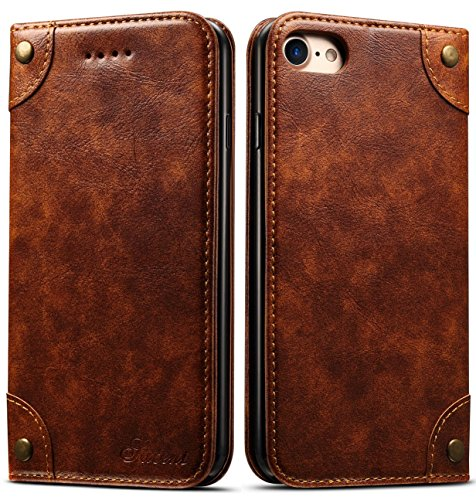 iPhone 8 Case, iPhone 7 Case, SINIANL Leather Wallet Folio Case Book Design Flip Cover with Stand and ID Credit Card Slot Magnetic Closure for iPhone 8 / 7