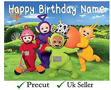 Teletubbies Pink Personalised PRECUT 7.5 INCH Cake Topper Edible Decoration Icing Sheet