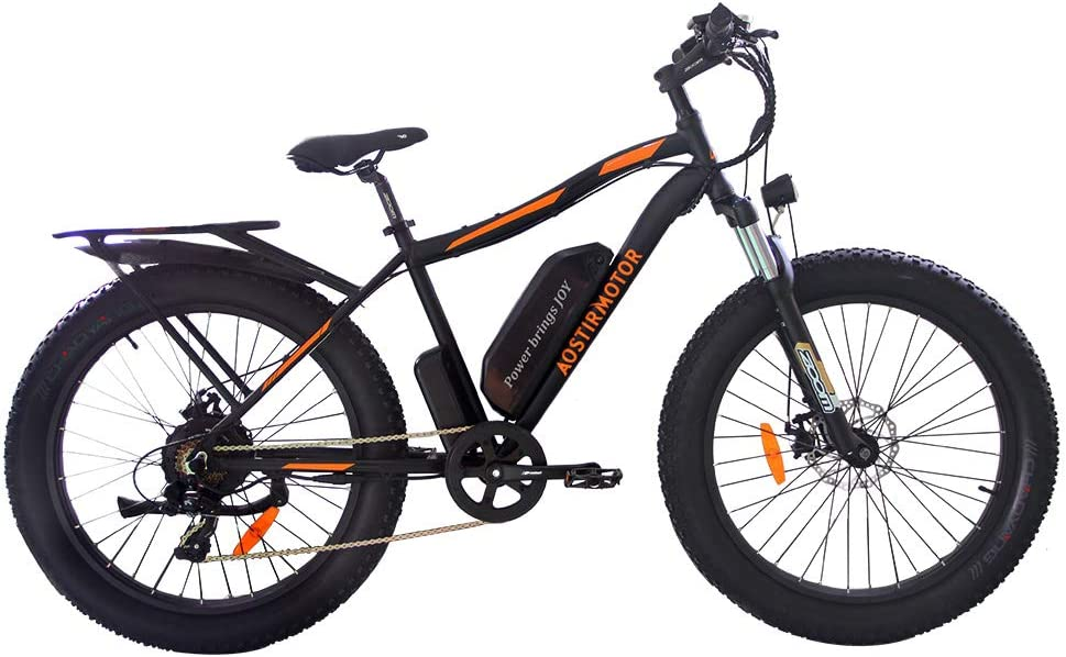 "AOSTIRMOTOR Electric Mountain Bike, 26"" 4.0 inch Fat Tire Ebike,Ebike with Rack,750W Motor,48V 13AH Removable Lithium Battery, Electric Bicycle for Adults (Black)"