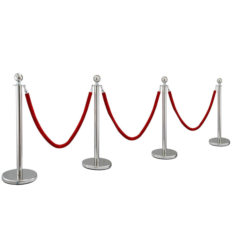 Poste Separador de Cinta Extensible 4 Juegos Barreras de Seguridad de 3 Cuerdas Longitud de Cuerda 1.5m Plata