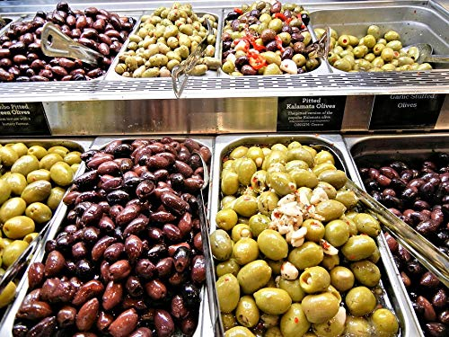 Home Comforts Peel-n-Stick Poster of Green Olives Various Garlic Stuffed Pitted Kalamata Vivid Imagery Poster 24 x 16 Adhesive Sticker Poster Print