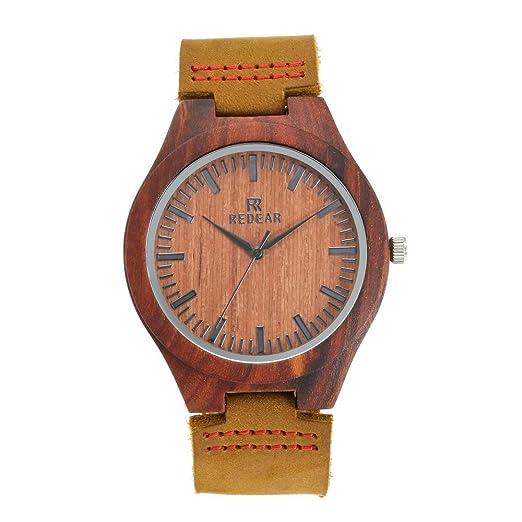 Reloj de Madera de bambú para Hombre, Cuarzo japonés y con la Correa de Cuero