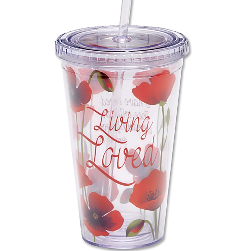 Living Loved Jeremiah 31:3 Tulips 16 Oz Insulated Tumbler with Straw