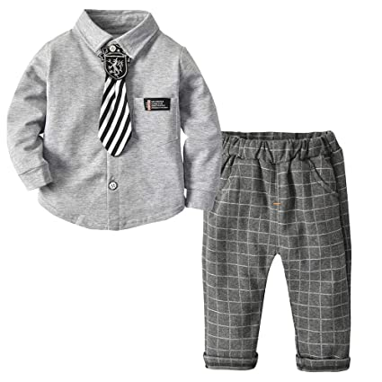 4218df02c BibiCola Kids Boys Clothing Sets Small Tie Shirt and Pants Toddler ...
