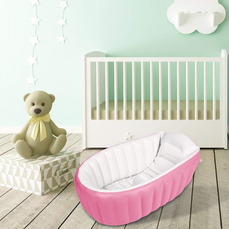 Azul Ba/ñera para Bebe Inflable Plegable de Viaje Ducha Para Ni/ños Reci/én Nacidos