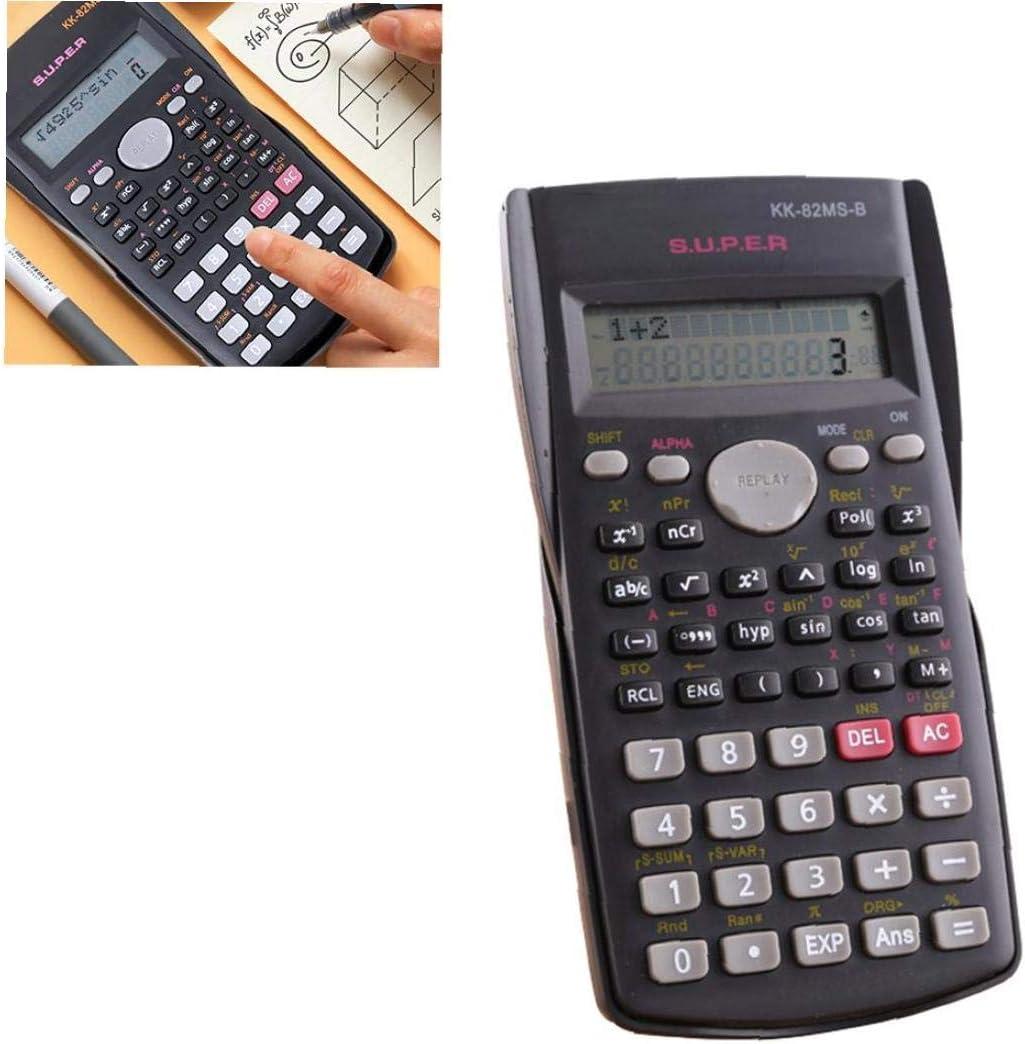 Hotaden Calculadora cient/ífica matem/áticas Pantalla LCD Funci/ón Pruebas de los Estudiantes de la calculadora port/átil para el hogar Oficina de la Escuela Negro