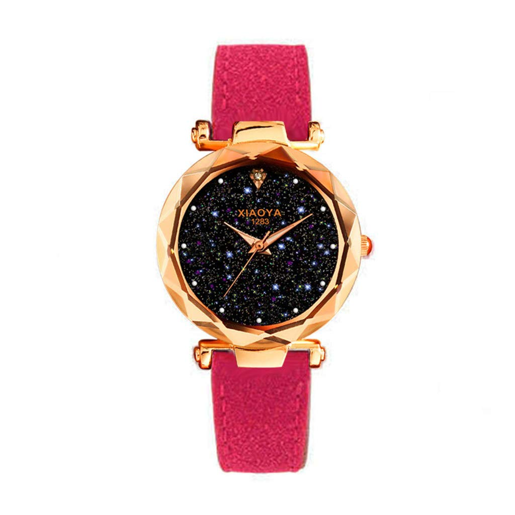 Starry Sky Watch for Women, Crystal Dial Analog Quartz Wristwtach with Suede Pu Leather Band BravetoshopXIA1283(Hot Pink)