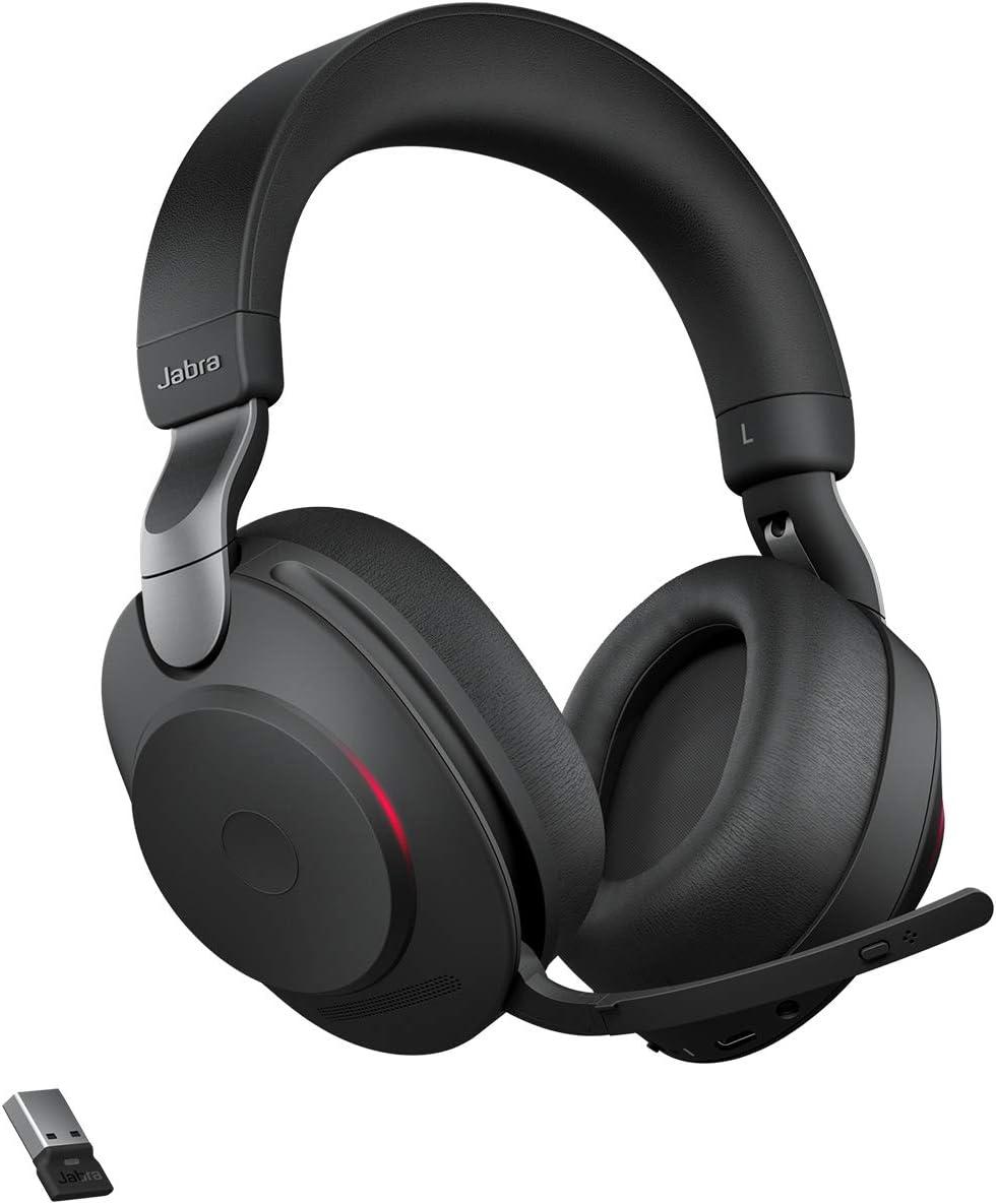 Jabra Evolve2 85 Wireless Headset Noise Cancelling Microsoft Teams Zertifizierte Stereo Kopfh/örer mit langer Akkulaufzeit schwarz USB-A Bluetooth Adapter