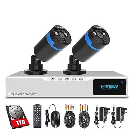 H. View - Sistema CCTV de cámaras de seguridad HD para el hogar, con disco duro de ...