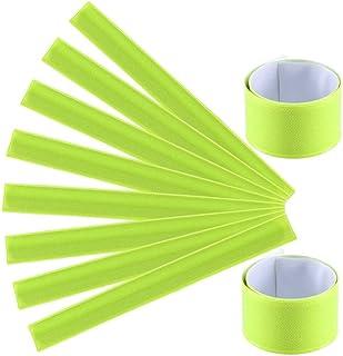 LIOOBO 12 Pz PVC Wrist Band Slap Bands Night Running Bracciali Riflettenti Bracciali di Sicurezza per Passeggiate a Piedi Jogging (Verde Fluorescente)