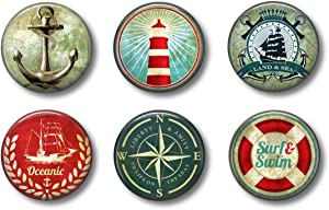 Nautical Magnets - Lighthouse Beach Ocean Sea - Cute for Lockers Fun School Supplies - Whiteboard Office or Fridge - Gift Set