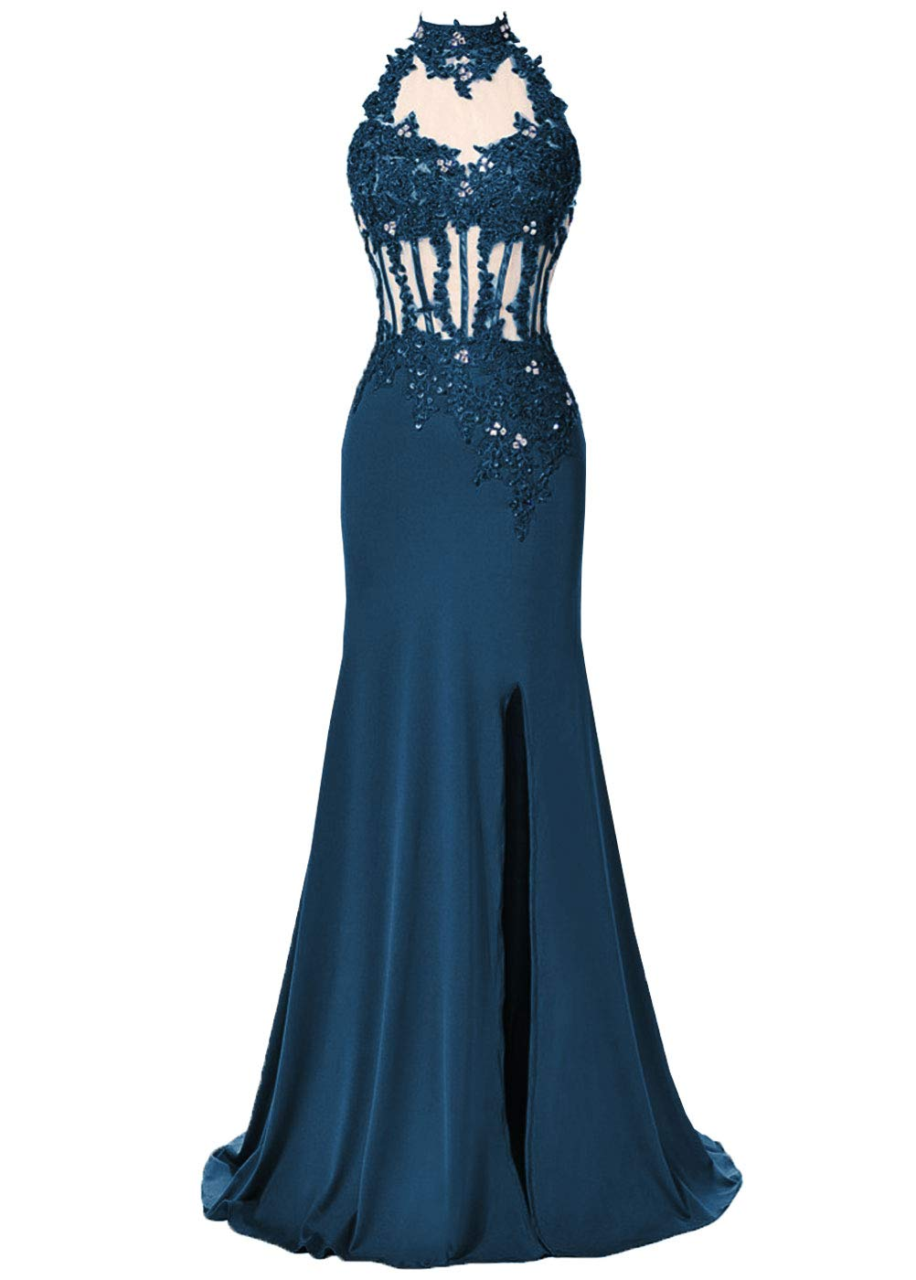 Dys Womens Mermaid Prom Dress High Neck Lace Appliques Nude Tulle Hole Back Teal Us 4-6739