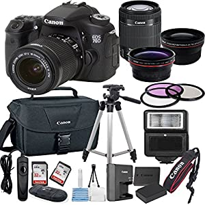 Canon EOS 70D Digital SLR Camera with EF-S 18-55mm IS STM Lens Bundle includes Camera, Lenses, Filters, Bag, Memory Cards, Tripod, Flash, Remote Shutter and More - International Version