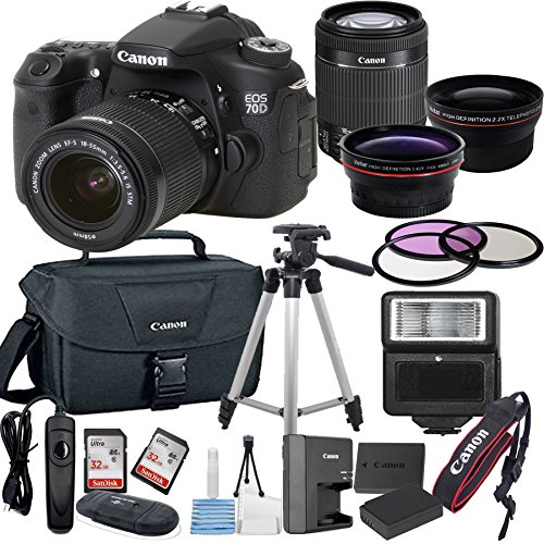 Canon EOS 70D Digital SLR Camera with EF-S 18-55mm IS STM Lens Bundle includes Camera, Lenses, Filters, Bag, Memory Cards, Tripod, Flash, Remote Shutter and More – International Version