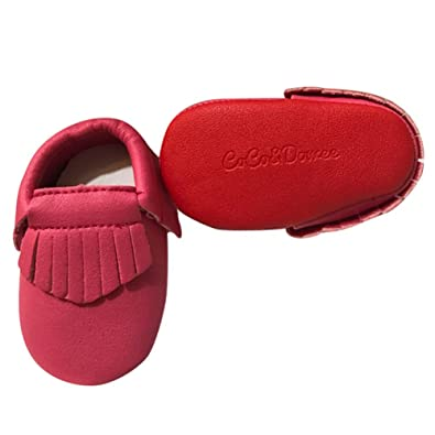 9a116b173162 Baby Girls Hot Pink Red Soft Sole Faux Leather Tassel Moccasin Crib Shoes 3 -6M