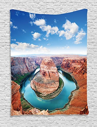 Room Tapestry Wall Hanging, Horse Shoe Bend North Rim Grand Canyon Page Arizona USA Famous Tourist Attractions Wall Art Tapestries for Home Bedroom Living Room Dorm Decor, Sandy Brown -
