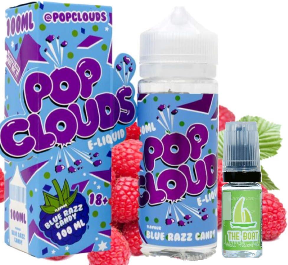 E Liquid POP Clouds Blue Razz 100ml - 70vg 30pg - booster shortfill + ELiquid The Boat 10 ml lima limón - Pack de 2 ...