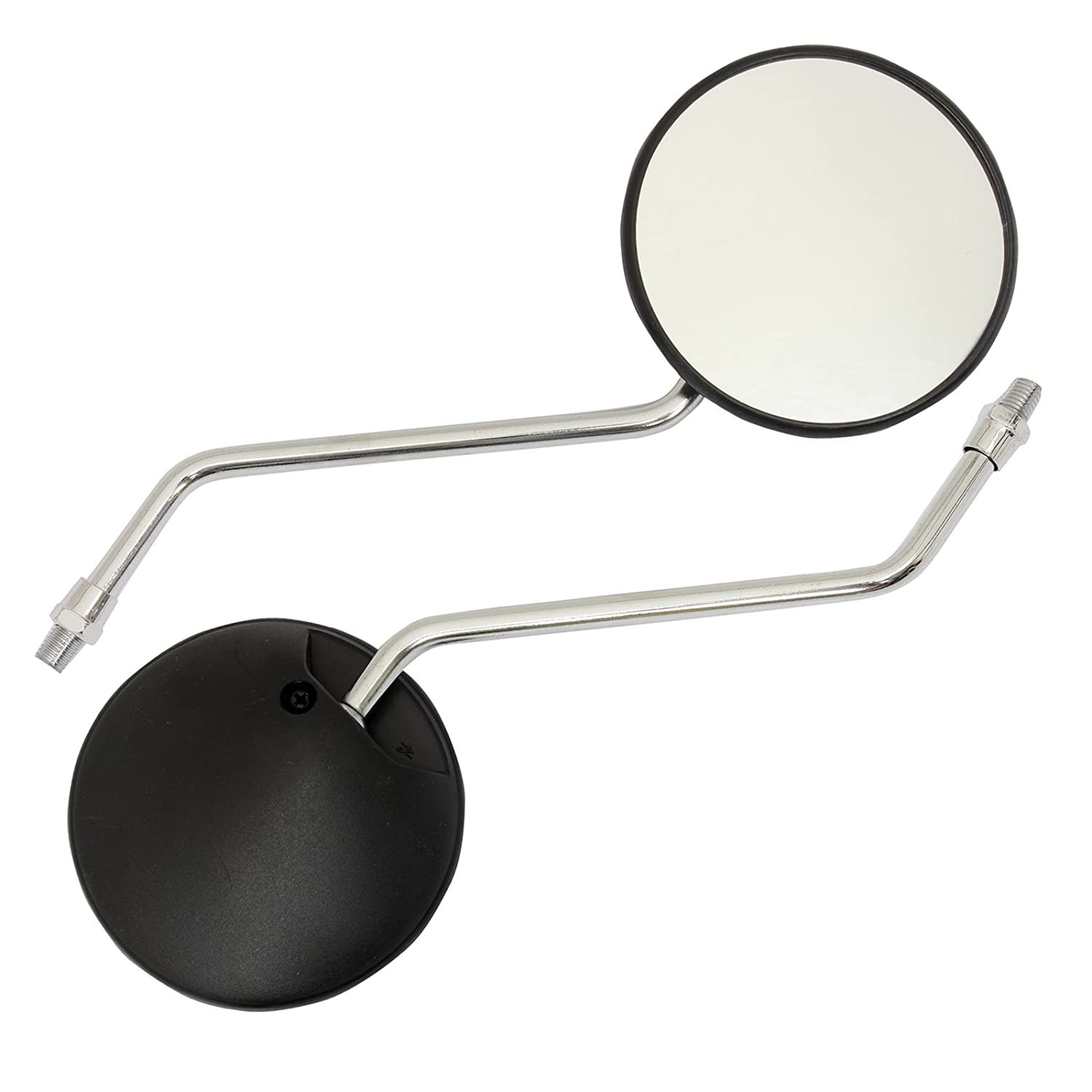 Ryde Black & Chrome Round Motorcycle Mirrors