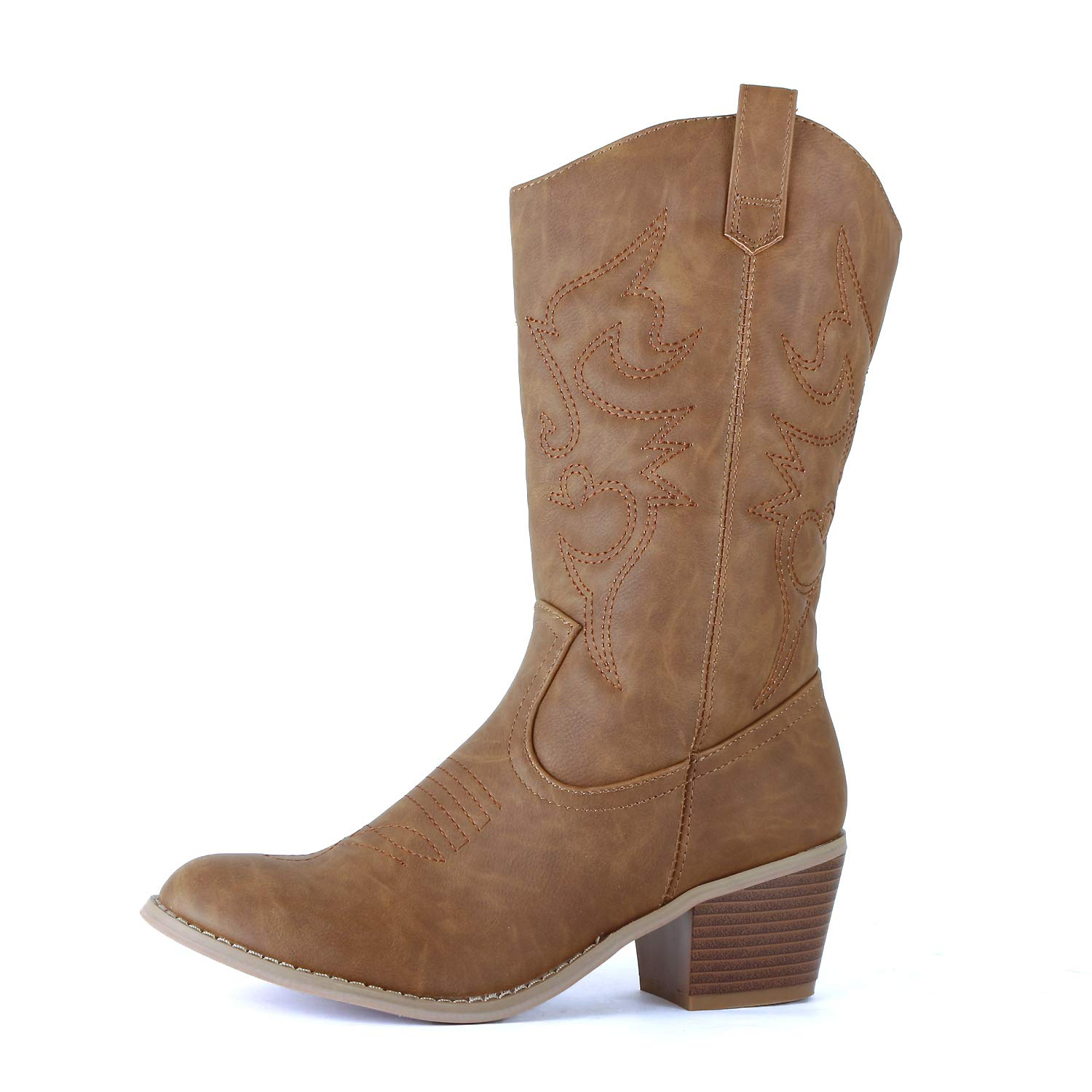 West Blvd - Womens Miami Cowboy Western Boots (8.5 B(M) US, Chestnut Pu)