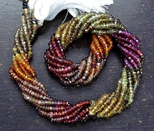 Devgemsandjewels Fine Quality TUNDRA SAPPHIRE Gemstone Faceted Rondelle Beads 3-3.50 mm Full 13 Inch Strand Tundura - Tunduru Sapphire Roundelle beads - Tundra Sapphire Gemstone