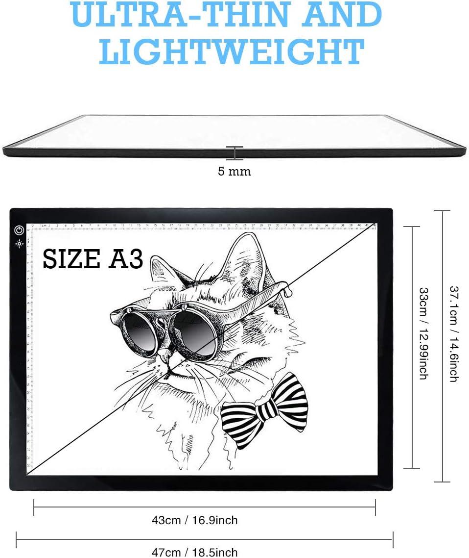 Lichtbox USB-Kabel mit Helligkeit Animation R/öntgenbetrachtung A3 superd/ünn verstellbar f/ür K/ünstler Animation A4 LED-Kopiertafel Skizzieren Zeichentafel