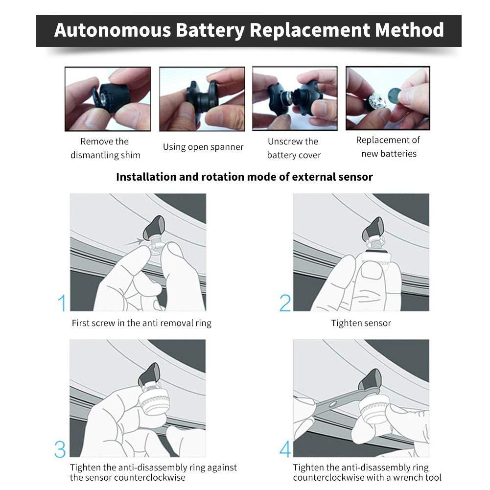 LCD Display F/ür Auto SUV KFZ Kbsin212 Reifendruckkontrollsystem Auto TPMS Reifendruck Kontrollsystem Reifendruckmesser mit Intern Solarzelle 4 Sensoren