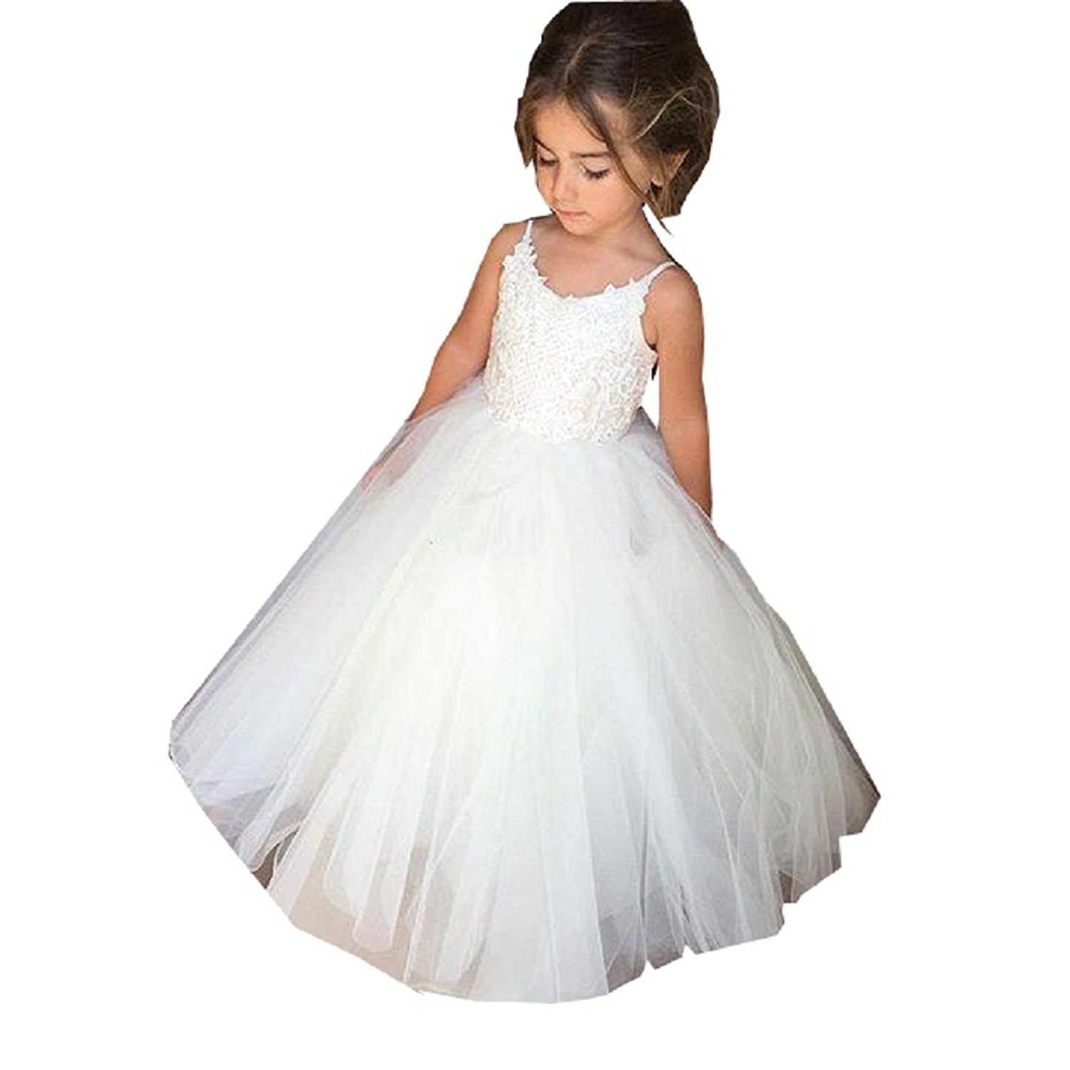 PLwedding Flower Girls Lace Tulle Ball Gowns First Communion Dresses (Size 4, Ivory)
