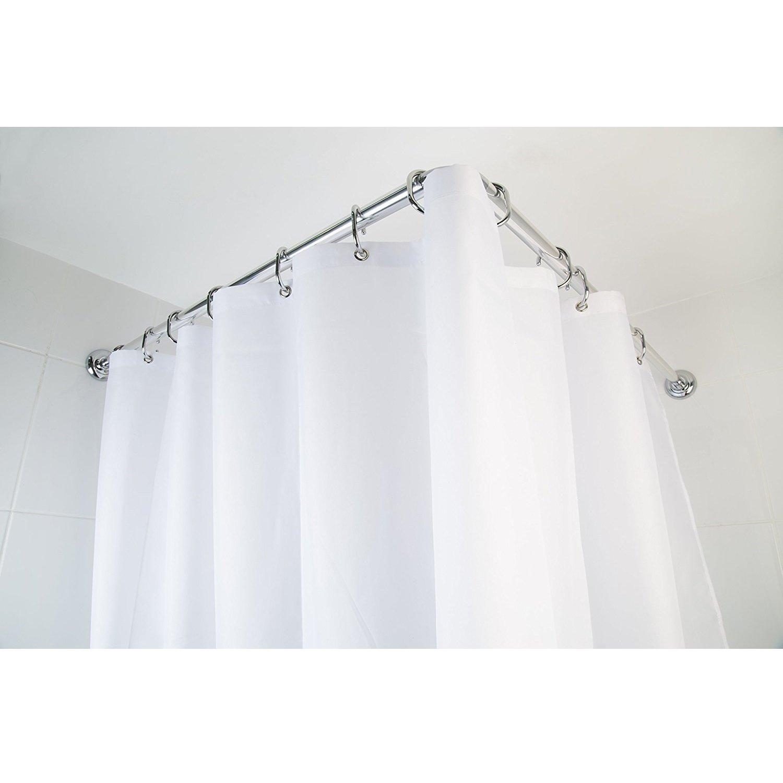 Croydex 4 Way Shower Bath Heavy Duty Aluminium Modular Chrome Curtain Rod Pole Rail with 12 Chrome Rings and Ceiling Support Croydex®