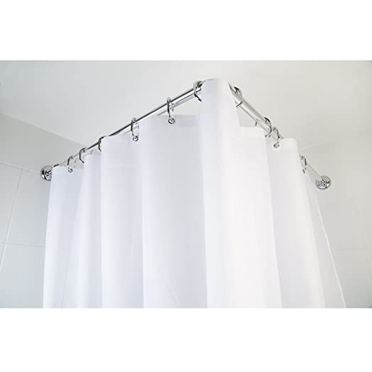 Croydex 4 Way Shower Bath Heavy Duty Aluminium Modular Chrome Curtain Rod  Pole Rail With 12