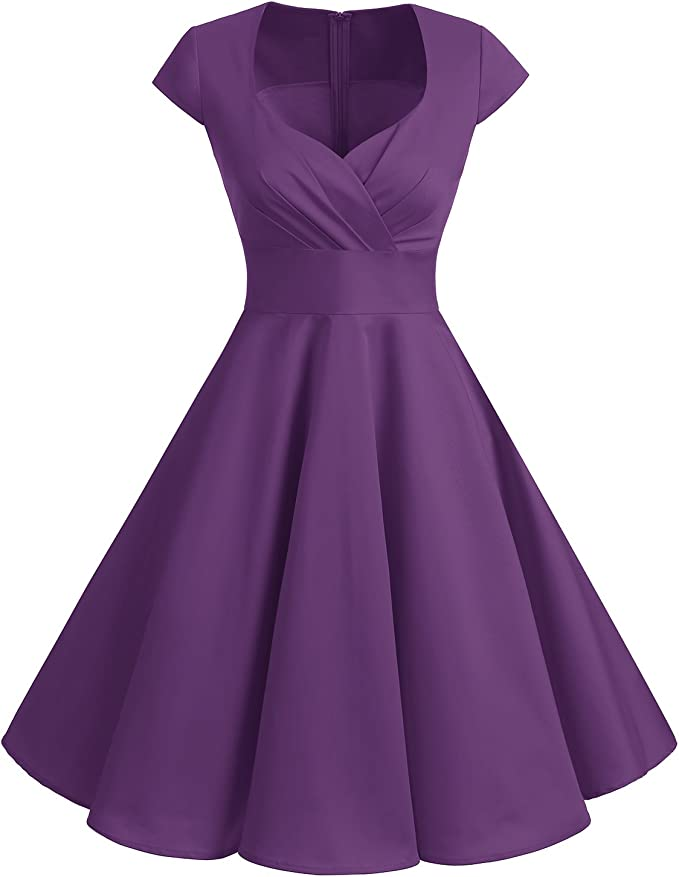 TALLA S. Bbonlinedress Vestido Corto Mujer Retro Años 50 Vintage Escote Purple S