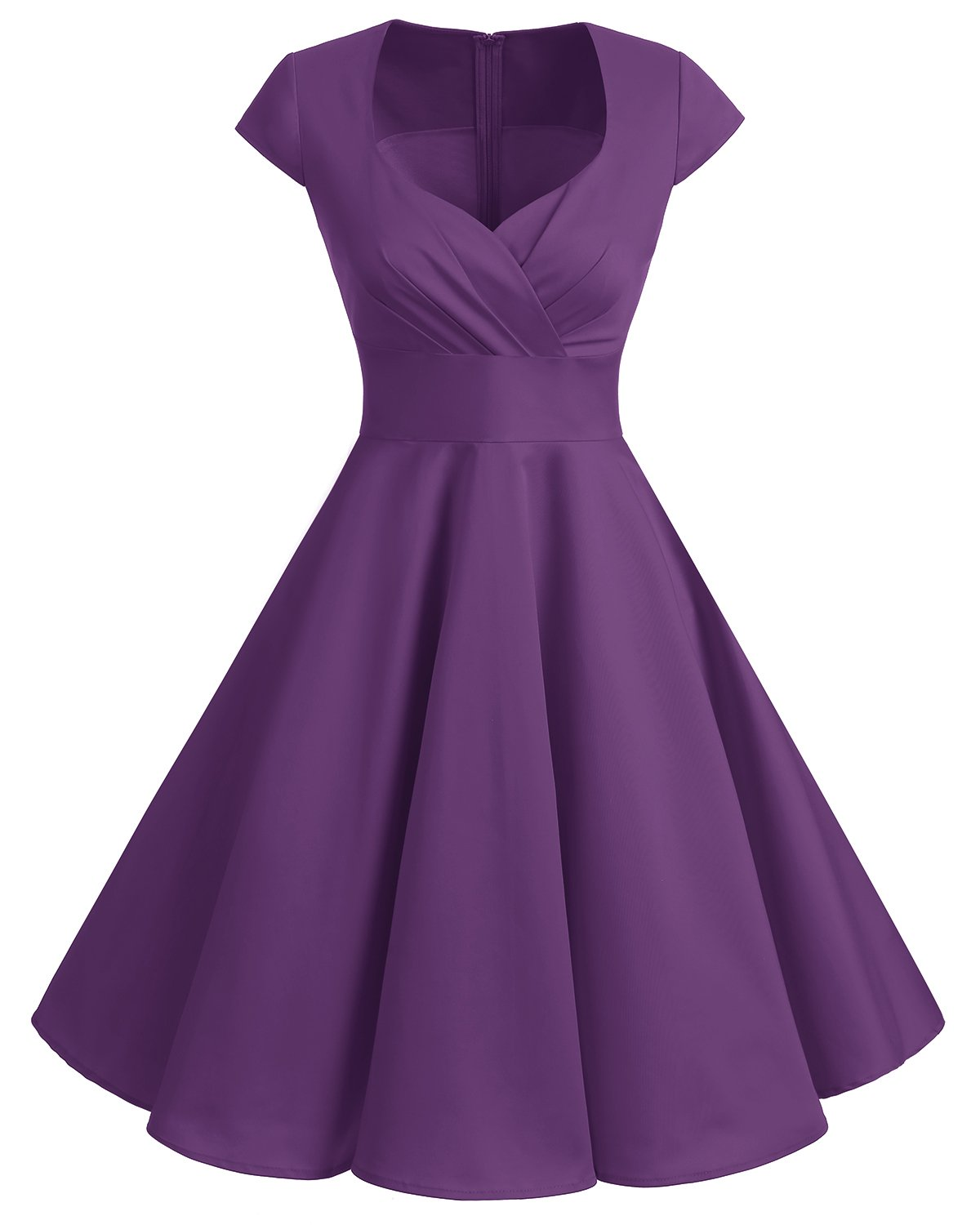 Bbonlinedress Women Short 1950s Retro Vintage Cocktail Party Swing Dresses Purple M