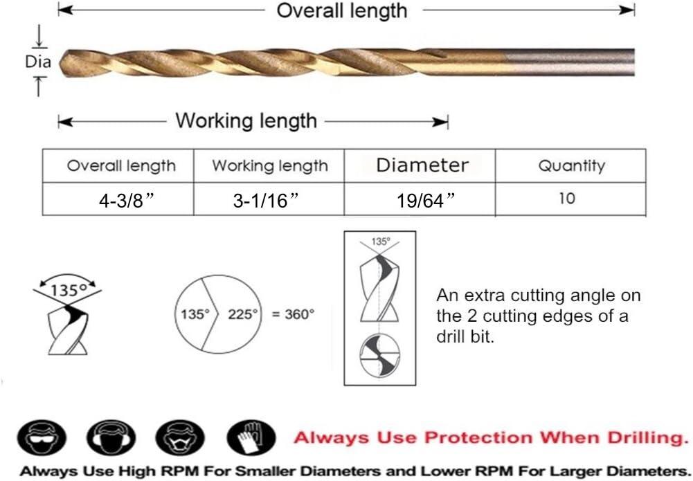 Zinc alloy etc 19//64 Metal drill ideal for drilling on mild steel Aluminum Pack In Plastic Bag DRILLFORCE HSS Jobber Length 10 PCS,19//64 x 4-3//8Titanium Coated Twist Drill Bits copper