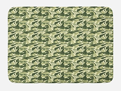 Ambesonne Banana Leaf Bath Mat, Caribbean Exotic Tree Foliage with Vintage Look in Green Shades, Plush Bathroom Decor Mat with Non Slip Backing, 29.5 W X 17.5 W Inches, Pale Green Dark Green durable service