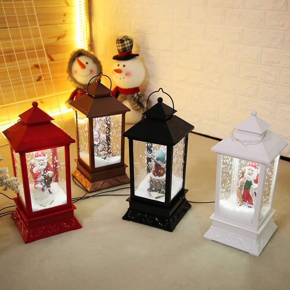 Uonlytech Christmas Table Lamp,LED Snow Music Bedside Lamp Christmas Hanging Lantern Decoration Props(Bronzer)