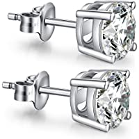 ZowBinBin Earrings Sterling Silver Round Cubic Zirconia Stud Earrings 4-8mm Available Fake Diamond Studs Earrings Nickle-Free,Hypoallergenic Black Cubic Zirconia Earrings Simple Ball Earrings Studs