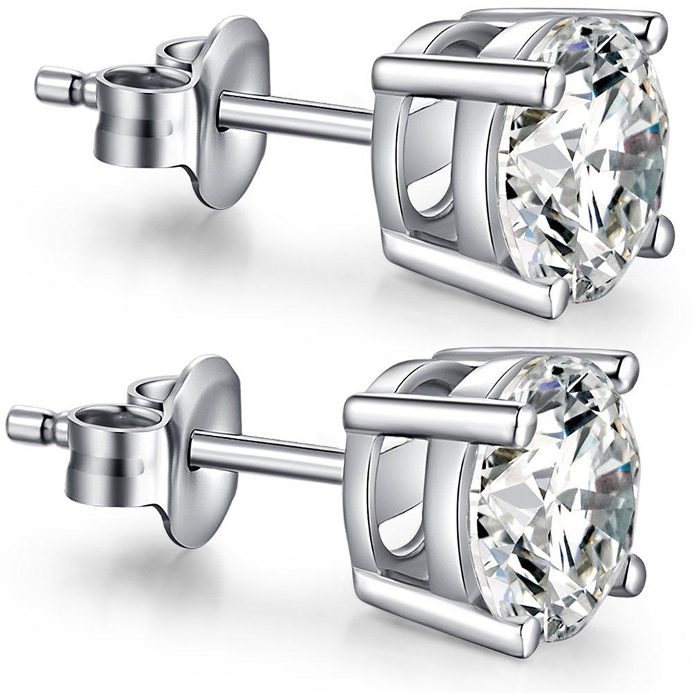 Diamond Earrings Studs Princess Cut Sterling Silver Cubic Zirconia Stud Earrings,Fake Diamond Stud Earrings,Faux Diamond Crystal CZ Earrings Studs Nickel Free Hypoallergenic Silver Earrings Studs 8mm by ZowBinBin