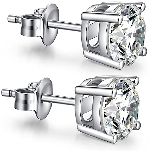 bb315df4d Sterling Silver Diamond Stud Earrings - Fashion Cubic Zirconia Earrings  Fake Diamond Silver CZ Stud Earrings
